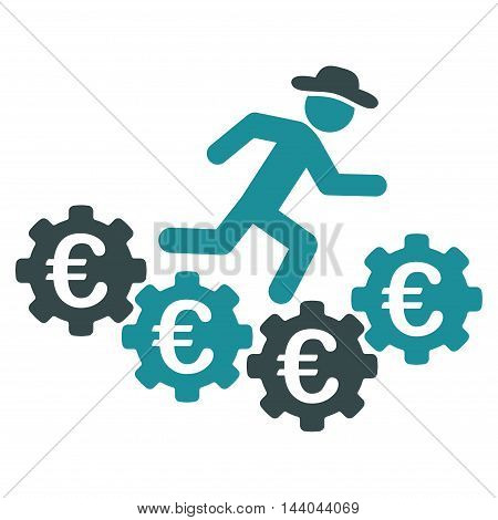 Euro Gears Runner icon. Glyph style is bicolor flat iconic symbol, soft blue colors, white background.
