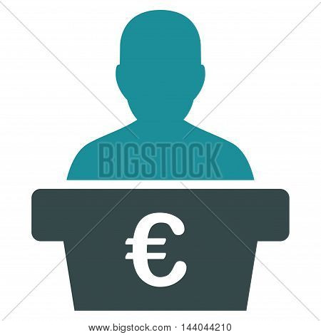 Euro Politician icon. Glyph style is bicolor flat iconic symbol, soft blue colors, white background.