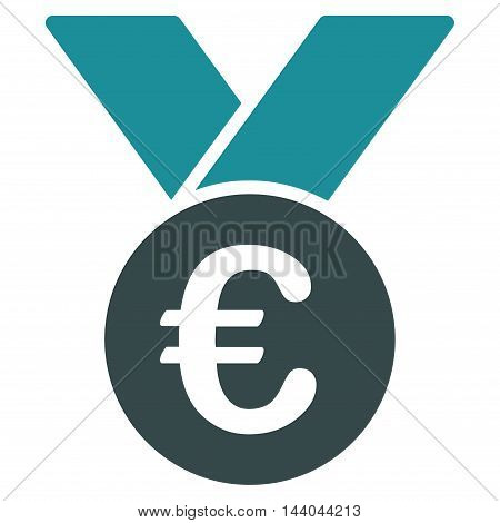 Euro Prize Medal icon. Glyph style is bicolor flat iconic symbol, soft blue colors, white background.