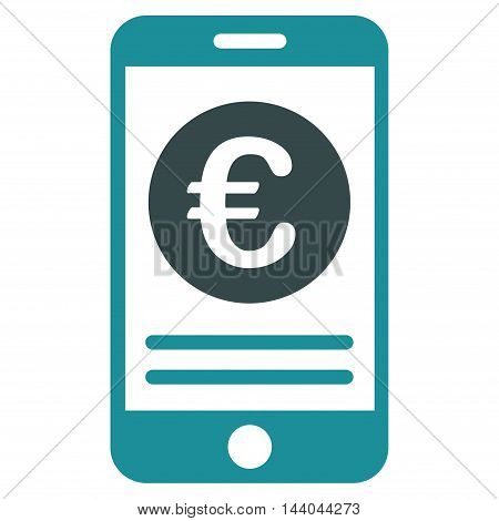 Euro Smartphone Banking icon. Glyph style is bicolor flat iconic symbol, soft blue colors, white background.