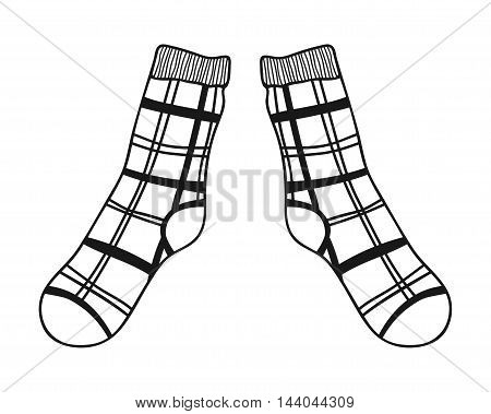 Pair of doodle socks isolated on white background. Clothing, accessory. Vector illustration
