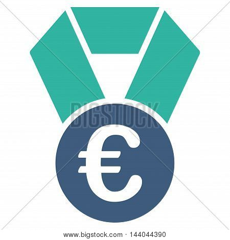 Euro Champion Medal icon. Glyph style is bicolor flat iconic symbol, cobalt and cyan colors, white background.
