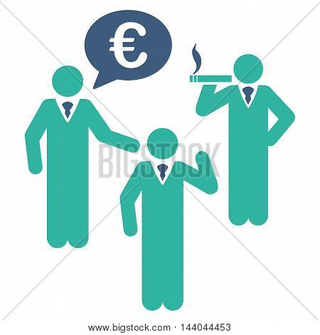 Euro Discuss People icon. Glyph style is bicolor flat iconic symbol, cobalt and cyan colors, white background.