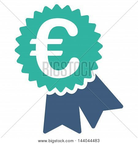 Euro Featured Price Tag icon. Glyph style is bicolor flat iconic symbol, cobalt and cyan colors, white background.
