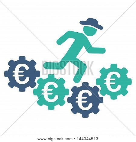 Euro Gears Runner icon. Glyph style is bicolor flat iconic symbol, cobalt and cyan colors, white background.