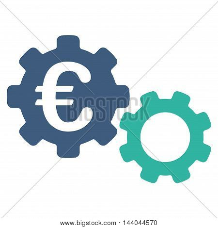 Euro Mechanics icon. Glyph style is bicolor flat iconic symbol, cobalt and cyan colors, white background.