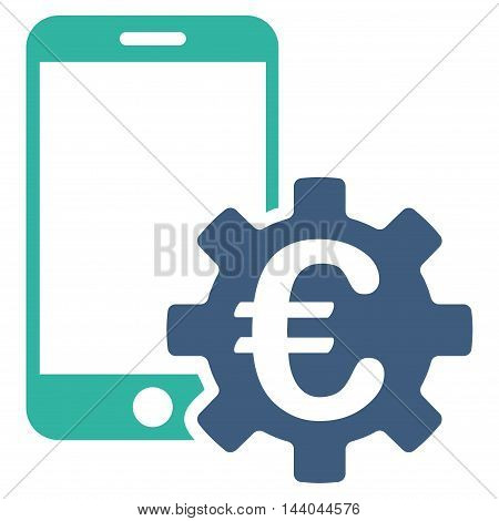 Euro Mobile Bank Configuration icon. Glyph style is bicolor flat iconic symbol, cobalt and cyan colors, white background.
