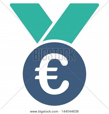 Euro Prize Medal icon. Glyph style is bicolor flat iconic symbol, cobalt and cyan colors, white background.