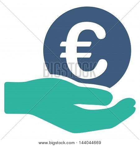 Euro Salary icon. Glyph style is bicolor flat iconic symbol, cobalt and cyan colors, white background.