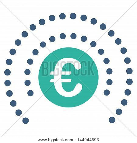 Euro Shield Sphere icon. Glyph style is bicolor flat iconic symbol, cobalt and cyan colors, white background.