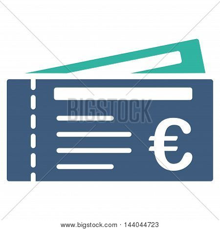Euro Tickets icon. Glyph style is bicolor flat iconic symbol, cobalt and cyan colors, white background.