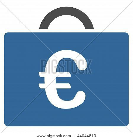 Euro Bookkeeping Case icon. Glyph style is bicolor flat iconic symbol, cobalt and gray colors, white background.