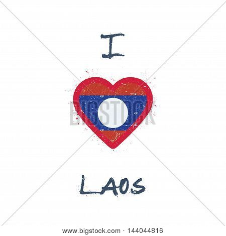 I Love Lao People's Democratic Republic T-shirt Design. Laotian Flag In The Shape Of Heart On White