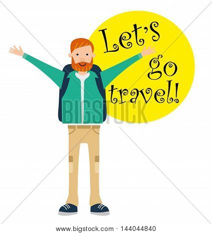 Tourist travel character. Happy camper opened his arms from excess of emotion. Lets go travel. Motivation call. Vector illustration. Flat