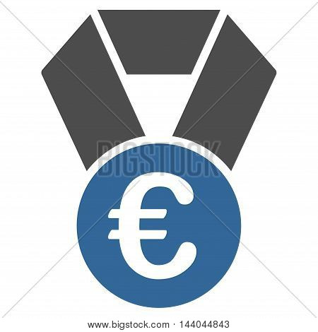 Euro Champion Medal icon. Glyph style is bicolor flat iconic symbol, cobalt and gray colors, white background.