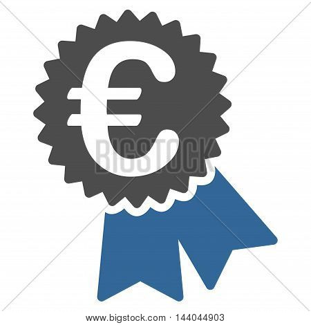 Euro Featured Price Tag icon. Glyph style is bicolor flat iconic symbol, cobalt and gray colors, white background.