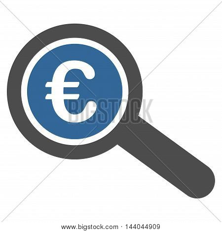 Euro Financial Audit icon. Glyph style is bicolor flat iconic symbol, cobalt and gray colors, white background.