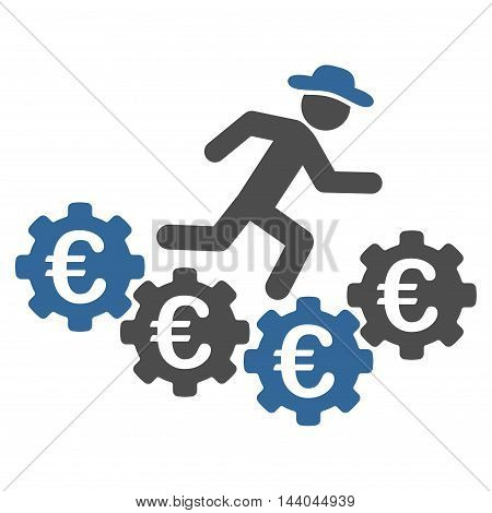 Euro Gears Runner icon. Glyph style is bicolor flat iconic symbol, cobalt and gray colors, white background.