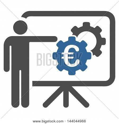 Euro Industrial Project Presentation icon. Glyph style is bicolor flat iconic symbol, cobalt and gray colors, white background.