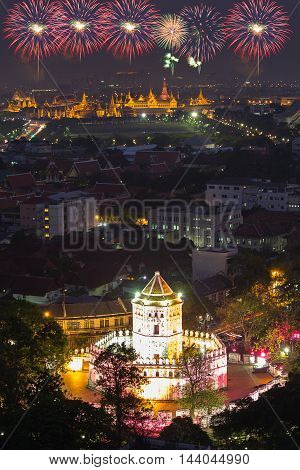 Phrasumeru fortress and Grand palace at twilight with Colorful Fireworks (Bangkok Thailand)