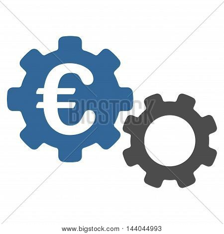 Euro Mechanics icon. Glyph style is bicolor flat iconic symbol, cobalt and gray colors, white background.