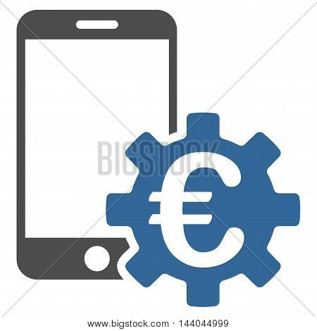 Euro Mobile Bank Configuration icon. Glyph style is bicolor flat iconic symbol, cobalt and gray colors, white background.