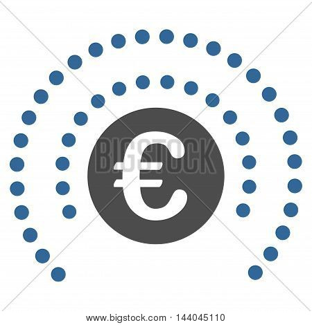 Euro Shield Sphere icon. Glyph style is bicolor flat iconic symbol, cobalt and gray colors, white background.