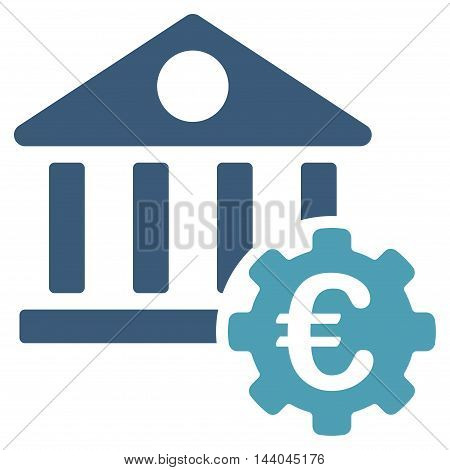 Euro Bank Building Options icon. Glyph style is bicolor flat iconic symbol, cyan and blue colors, white background.