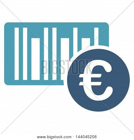 Euro Bar Code Price icon. Glyph style is bicolor flat iconic symbol, cyan and blue colors, white background.