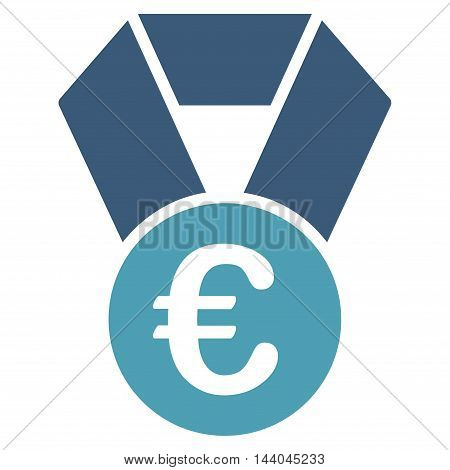 Euro Champion Medal icon. Glyph style is bicolor flat iconic symbol, cyan and blue colors, white background.