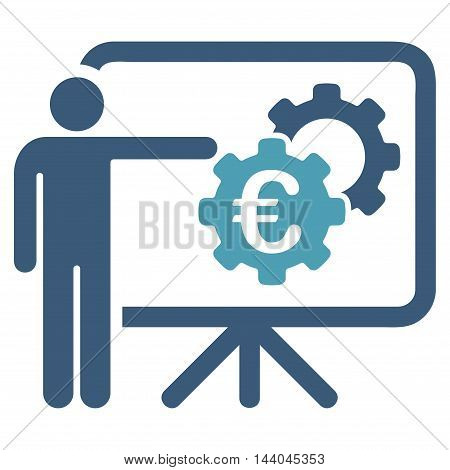 Euro Industrial Project Presentation icon. Glyph style is bicolor flat iconic symbol, cyan and blue colors, white background.