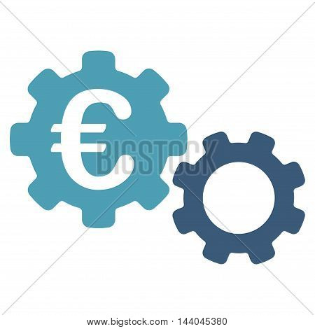 Euro Mechanics icon. Glyph style is bicolor flat iconic symbol, cyan and blue colors, white background.