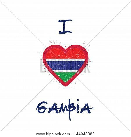 I Love Gambia T-shirt Design. Gambian Flag In The Shape Of Heart On White Background. Grunge Vector