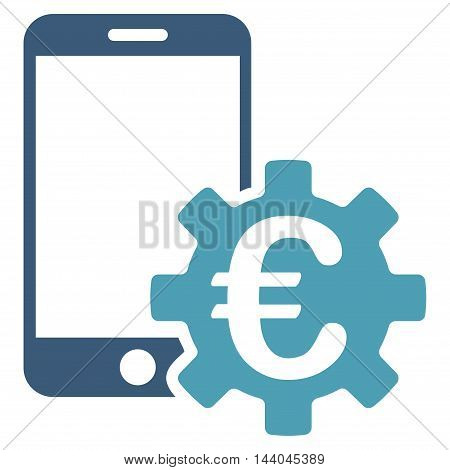 Euro Mobile Bank Configuration icon. Glyph style is bicolor flat iconic symbol, cyan and blue colors, white background.
