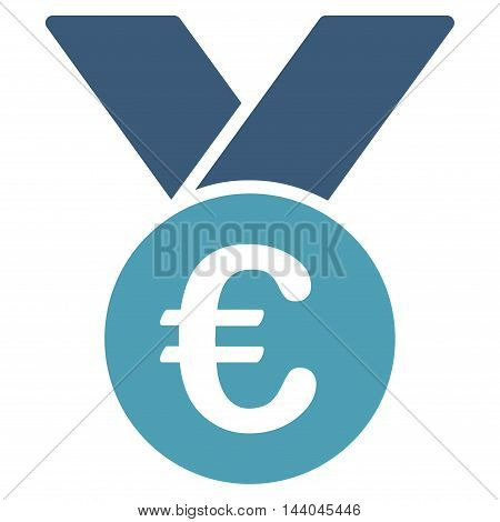 Euro Prize Medal icon. Glyph style is bicolor flat iconic symbol, cyan and blue colors, white background.