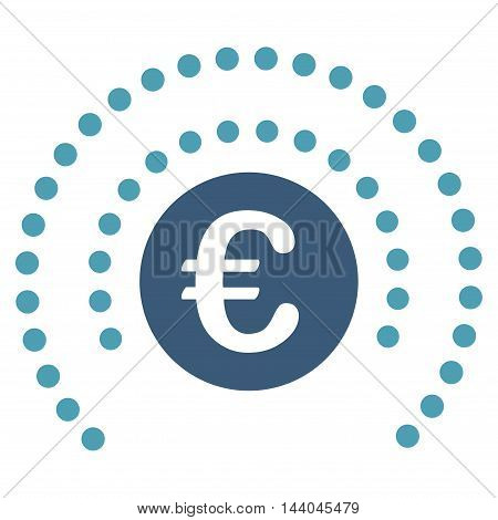 Euro Shield Sphere icon. Glyph style is bicolor flat iconic symbol, cyan and blue colors, white background.