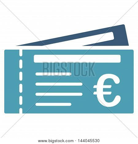 Euro Tickets icon. Glyph style is bicolor flat iconic symbol, cyan and blue colors, white background.