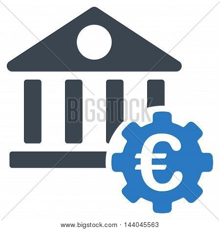 Euro Bank Building Options icon. Glyph style is bicolor flat iconic symbol, smooth blue colors, white background.