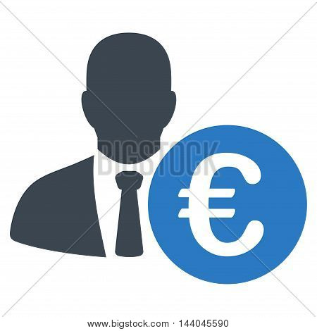 Euro Banker icon. Glyph style is bicolor flat iconic symbol, smooth blue colors, white background.