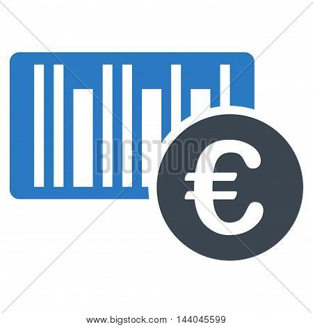 Euro Bar Code Price icon. Glyph style is bicolor flat iconic symbol, smooth blue colors, white background.