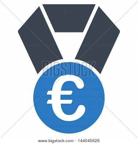Euro Champion Medal icon. Glyph style is bicolor flat iconic symbol, smooth blue colors, white background.