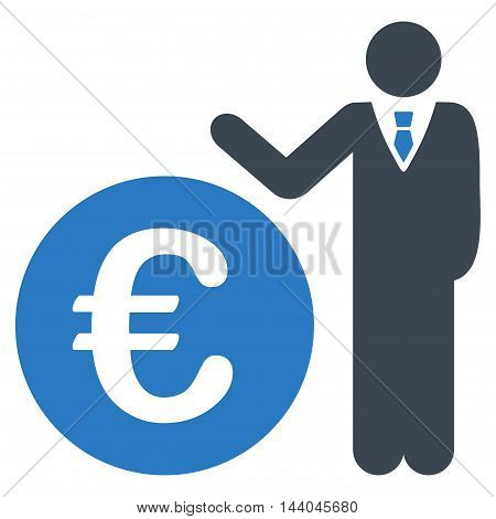 Euro Economist icon. Glyph style is bicolor flat iconic symbol, smooth blue colors, white background.