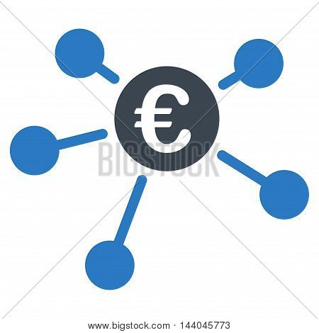 Euro Links icon. Glyph style is bicolor flat iconic symbol, smooth blue colors, white background.