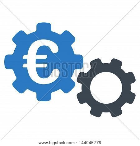 Euro Mechanics icon. Glyph style is bicolor flat iconic symbol, smooth blue colors, white background.