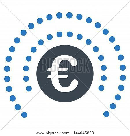 Euro Shield Sphere icon. Glyph style is bicolor flat iconic symbol, smooth blue colors, white background.