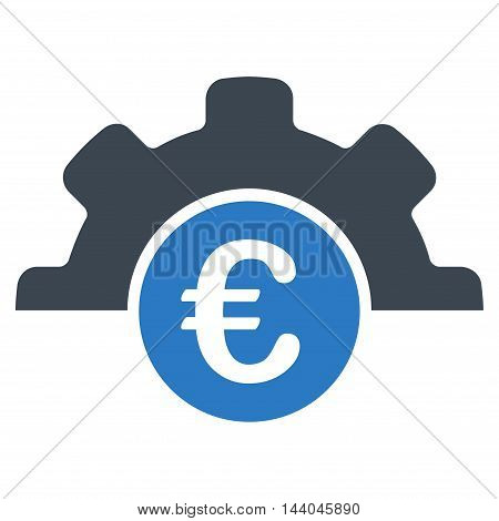Euro Technology icon. Glyph style is bicolor flat iconic symbol, smooth blue colors, white background.
