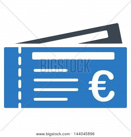 Euro Tickets icon. Glyph style is bicolor flat iconic symbol, smooth blue colors, white background.