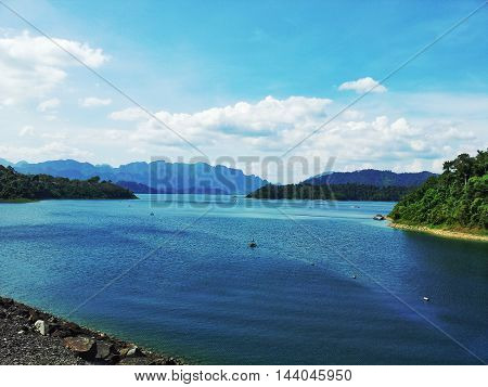 Dam lake and Blue sky dam lake landscape