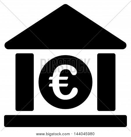 Euro Bank Building icon. Glyph style is flat iconic symbol, black color, white background.