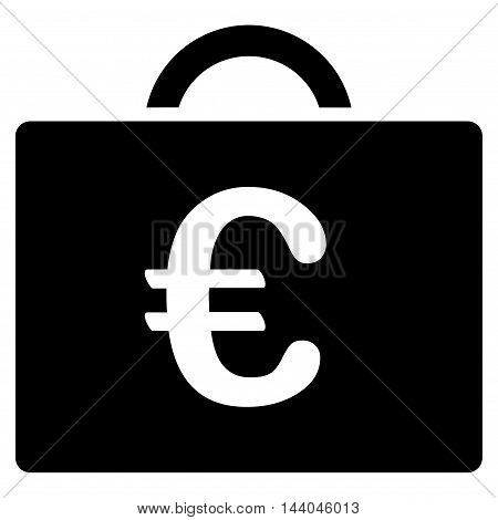 Euro Bookkeeping Case icon. Glyph style is flat iconic symbol, black color, white background.